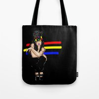 depression Tote Bags featuring Depression by Hannah  Aryee