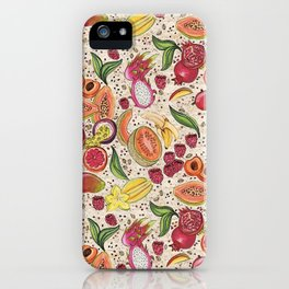 Ready to Eat - Fruit Pattern in White iPhone Case