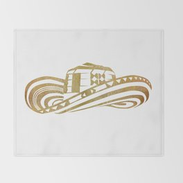 Colombian Sombrero Vueltiao in Gold Leaf Style Throw Blanket