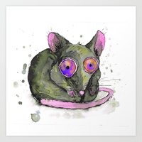 rat Art Prints featuring Rat by Bwiselizzy