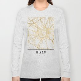 MILAN ITALY CITY STREET MAP ART Long Sleeve T-shirt