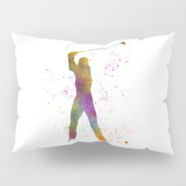Man practicing golf in watercolor 04 Pillow Sham