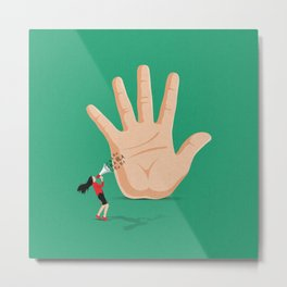 Talk To The Hand Metal Print