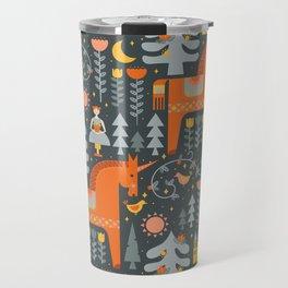 Scandinavian Fairy Tale Gray + Orange Travel Mug