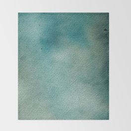Hand painted blue teal abstract watercolor paint Throw Blanket