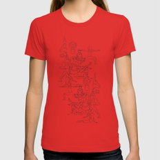 Yoga Manuscript X-LARGE Womens Fitted Tee Red