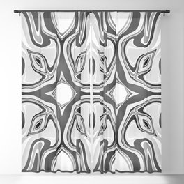 RAVEN black and white graphic design native spirit motif Blackout Curtain