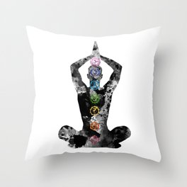 Meditating Man with Seven Chakras Throw Pillow