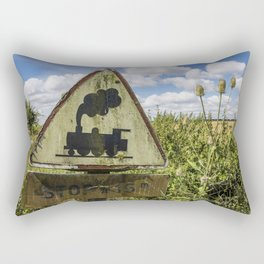 Vintage sign Railroad Crossing in France Rectangular Pillow