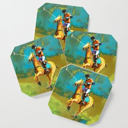 poloplayer abstract turquoise ochre Coaster