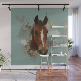 Brown and White Horse Watercolor Light Wall Mural