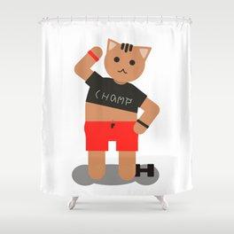 Cat champ doing sport Shower Curtain