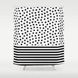 Big Fat Black White Spots Shower Curtain