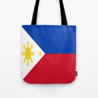 philippines Tote Bags featuring Flag of the Philippines by Neville Hawkins