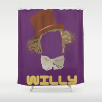 willy wonka Shower Curtains featuring Willy Wonka and you by Ally Simmons