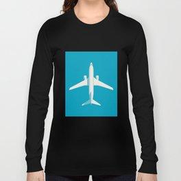 737 Passenger Jet Airliner Aircraft - Cyan Long Sleeve T-shirt