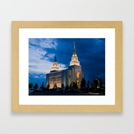 Kansas City, Missouri Temple at Night Framed Art Print