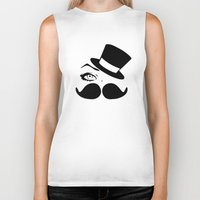 mustache Biker Tanks featuring mustache  by LCMedia