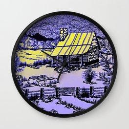 Mountain Cabin Sunrise Wall Clock