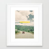 mountains Framed Art Prints featuring NEVER STOP EXPLORING - vintage volkswagen van by Leslee Mitchell