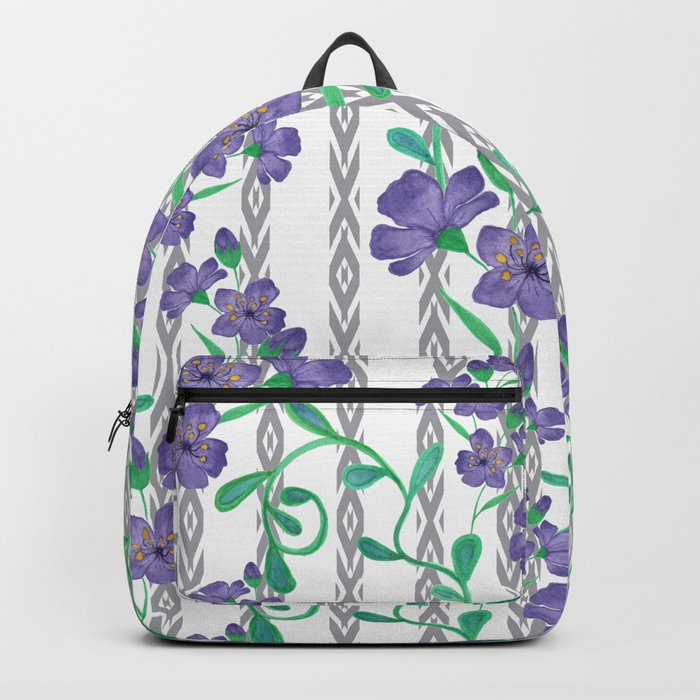Flowers on a striped background. Backpack