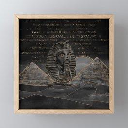 Tutankhamun on Egyptian pyramids landscape Framed Mini Art Print