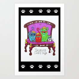 Reigning Cats & Dogs Art Print