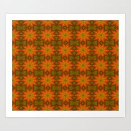 Autumnal Leaves Red and Green Repeating Pattern Art Print