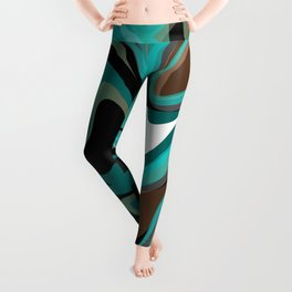 Liquify - Brown, Turquoise, Teal, Black, White Leggings