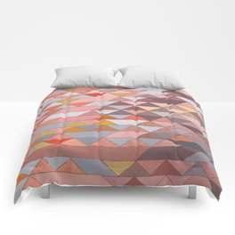 Triangle Pattern no.5 Gold, Pink and Brown Comforters