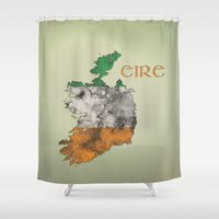ireland Shower Curtains featuring Eire / Ireland by Dandy Octopus
