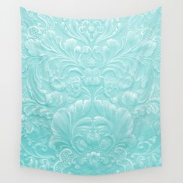 Robin Egg Blue Tooled Leather Wall Tapestry