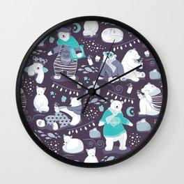 Arctic bear pajamas party Wall Clock