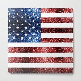 USA flag red blue sparkles glitters Metal Print