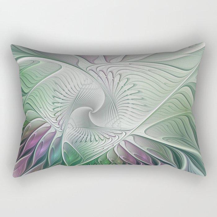 Colorful Fantasy Flower, Abstract Fractal Art Rectangular Pillow