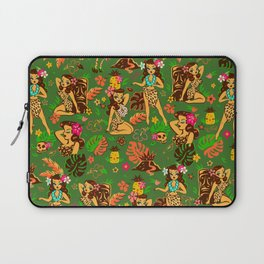 Tiki Temptress on Green Laptop Sleeve