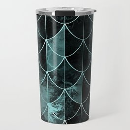Mermaid scales. Mint and black. Travel Mug