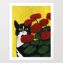 Cat Amongst The Geraniums 3 Art Print