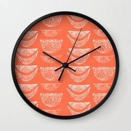 Textured Crescents in Coral Pink Wall Clock