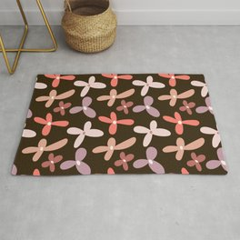 Colorful floral Cut Out Flowers and Leaves fabric Brown II Rug