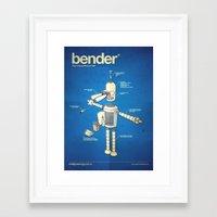 bender Framed Art Prints featuring Bender by Enrique Guillamon