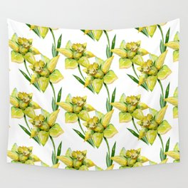 Spring hand painted yellow green watercolor daffodils floral Wall Tapestry