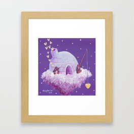 Penguins Fishing and Making Music On Their Floating Igloo Home in the Stars Framed Art Print