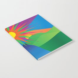 Psychedelic Sun Neon Mountain River Lands Notebook