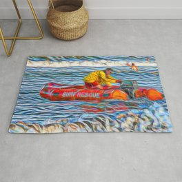 Abstract Surf rescue boat in action Rug