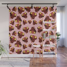 Cute Frog With Pink Background Wall Mural