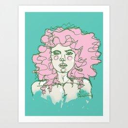 Pink Mermaid Curls Art Print