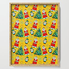 Santa and Penguin in Sunny Yellow Serving Tray