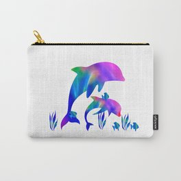 Rainbow Dolphins swimming in the sea Carry-All Pouch