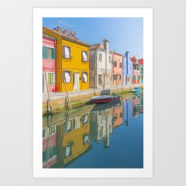 colourful fishermen houses in Burano Venice Italy Art Print